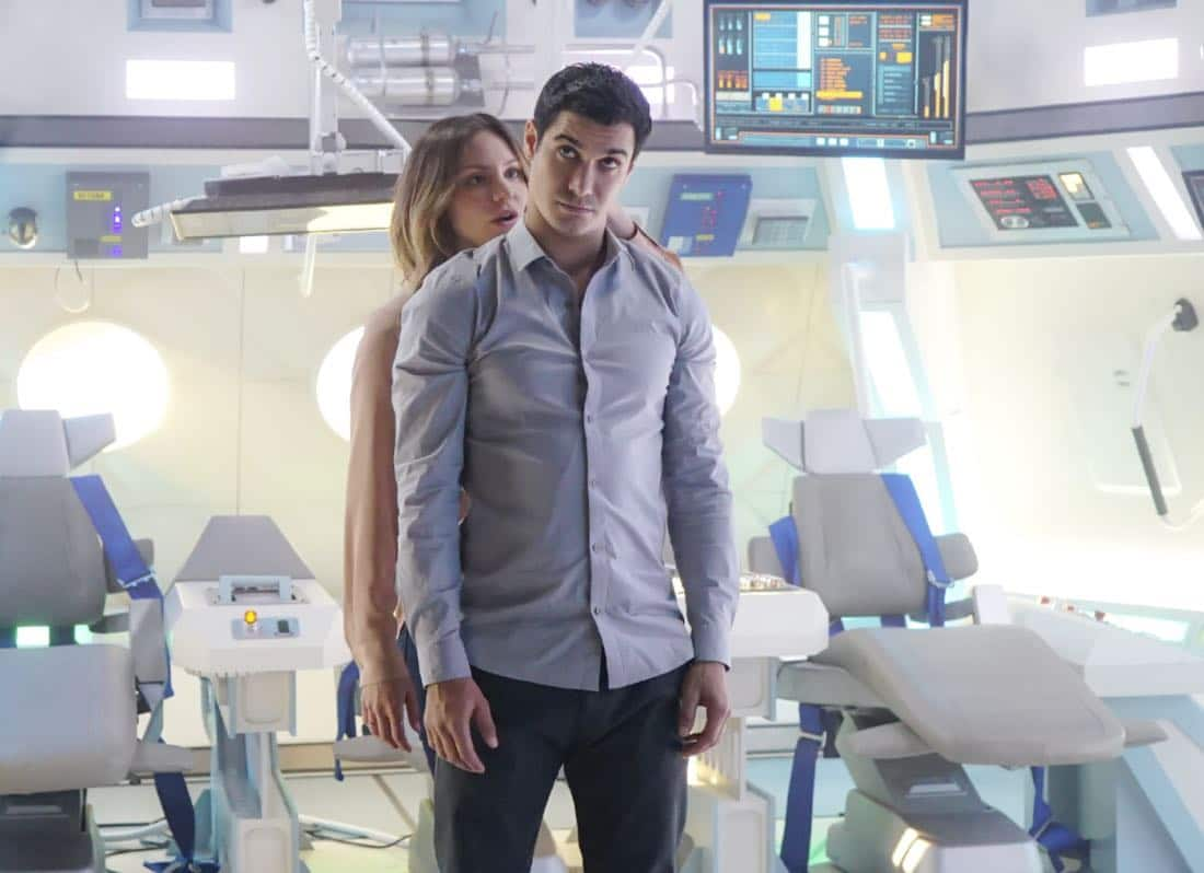 """It Isn't the Fall That Kills You"" – When Walter is accidentally launched into space in a rocket, he hallucinates about Paige as his oxygen runs low, and Team Scorpion works feverishly to find a way to bring him home before he suffocates, on SCORPION, Monday, Oct. 10 (10:00-11:00, ET/PT), on the CBS Television Network. Pictured: Katharine McPhee as Paige Dineen, Elyes Gabel as Walter O'Brien."