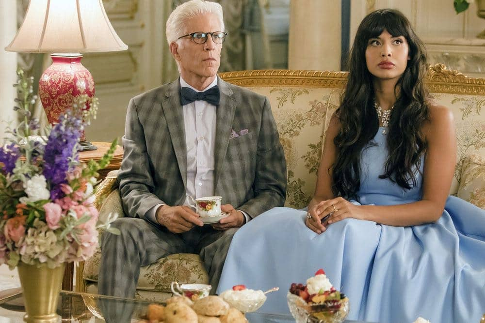 """THE GOOD PLACE -- """"...Someone Like Me as a Member"""" -- Pictured: (l-r) Ted Danson as Michael, Jameela Jamil as Tehani -- (Photo by: Ron Batzdorff/NBC)"""