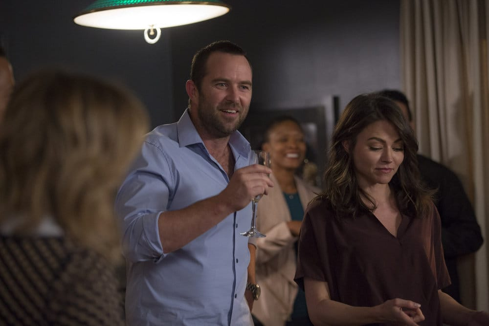 "BLINDSPOT -- ""Do Not Slack, the Featherweight Wins"" Episode 208 -- Pictured: (l-r) Sullivan Stapleton as Kurt Weller, Trieste Dunn as Allison Knight -- (Photo by: Eric Liebowitz/Warner Bros/NBC)"