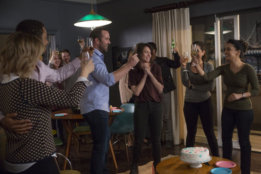 "BLINDSPOT -- ""Do Not Slack, the Featherweight Wins"" Episode 208 -- Pictured: (l-r) Ashley Johnson as Patterson, Ukweli Roach as Dr. Robert Borden, Sullivan Stapleton as Kurt Weller, Trieste Dunn as Allison Knight, Audrey Esparza as Tasha Zapata, Archie Panjabi as Nas Kamal -- (Photo by: Eric Liebowitz/Warner Bros/NBC)"
