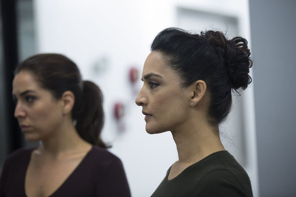 "BLINDSPOT -- ""Do Not Slack, the Featherweight Wins"" Episode 208 -- Pictured: (l-r) Audrey Esparza as Tasha Zapata, Archie Panjabi as Nas Kamal -- (Photo by: Eric Liebowitz/Warner Bros/NBC)"