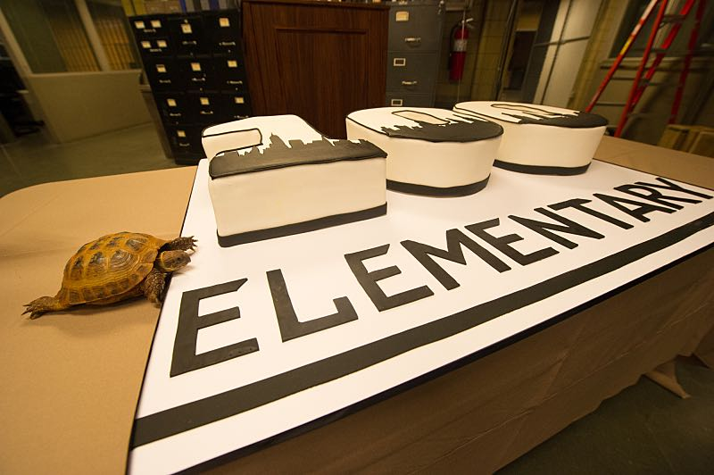 """""""Henny Penny The Sky Is Falling"""" -- The cast of ELEMENTARY celebrates their milestone 100th episode with a cake-cutting ceremony Pictured Clye Photo: JEFF NEIRA /CBS ©2016 CBS Broadcasting Inc. All Rights Reserved."""