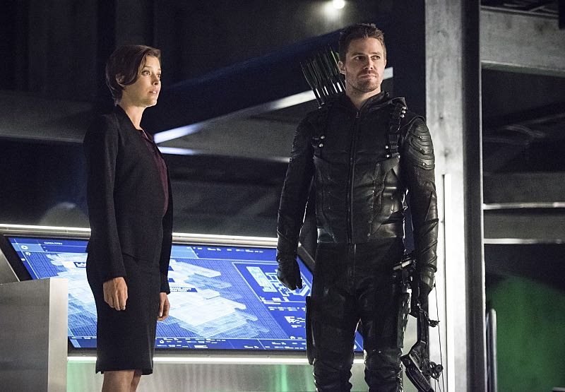 "Arrow -- ""Penance"" -- Image AR504b_0311b.jpg -- Pictured (L-R): Audrey Marie Anderson as Lyla Michaels and Stephen Amell as Oliver Queen -- Photo: Dean Buscher/The CW -- © 2016 The CW Network, LLC. All Rights Reserved."