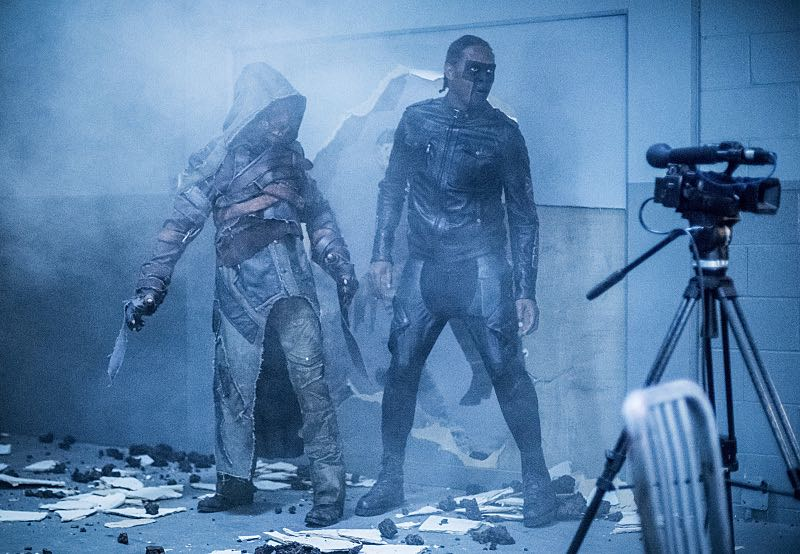 "Arrow -- ""Penance"" -- Image AR504a_0243b.jpg -- Pictured (L-R): Prometheus and Echo Kellum as Curtis Holt -- Photo: Dean Buscher/The CW -- © 2016 The CW Network, LLC. All Rights Reserved."