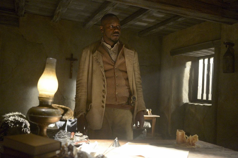 "TIMELESS -- ""The Alamo"" Episode 104 -- Pictured: Malcolm Barrett as Rufus Carlin -- (Photo by: Sergei Bachlakov/NBC)"