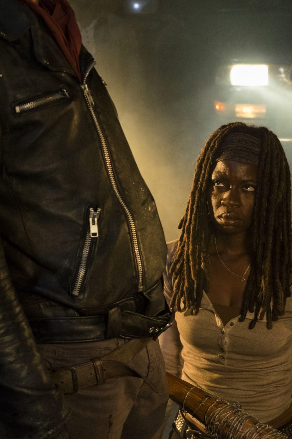 >>> NOT TO BE USED UNTIL 10/24/16 at 1:00 AM EST <<< Danai Gurira as Michonne, Jeffrey Dean Morgan as Negan - The Walking Dead _ Season 7, Episode 1 - Photo Credit: Gene Page/AMC