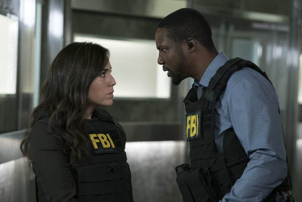 "BLINDSPOT -- ""Resolves Eleven Myths"" Episode 207 -- Pictured: (l-r) Audrey Esparza as Tasha Zapata, Rob Brown as Edgar Reade -- (Photo by: Virginia Sherwood/NBC)"