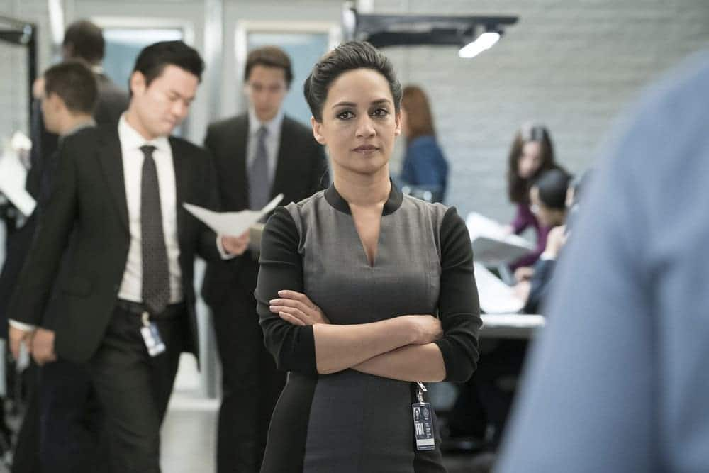 "BLINDSPOT -- ""Resolves Eleven Myths"" Episode 207 -- Pictured: Archie Panjabi as Nas Kamal -- (Photo by: Virginia Sherwood/NBC)"