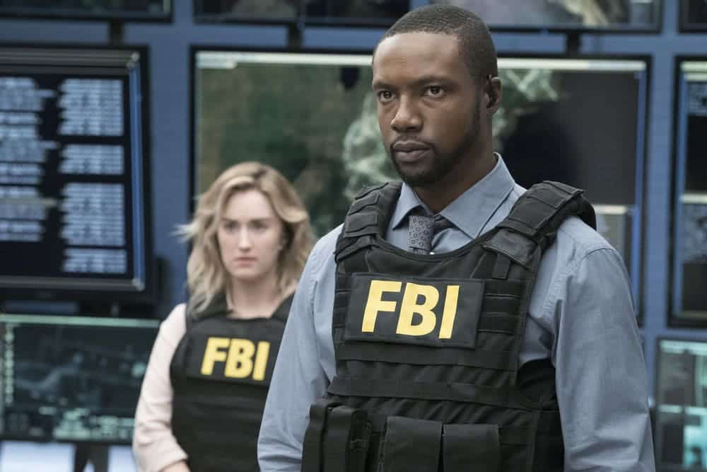 "BLINDSPOT -- ""Resolves Eleven Myths"" Episode 207 -- Pictured: (l-r) Rob Brown as Edgar Reade, Ashley Johnson as Patterson -- (Photo by: Virginia Sherwood/NBC)"