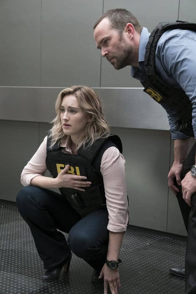 "BLINDSPOT -- ""Resolves Eleven Myths"" Episode 207 -- Pictured: (l-r) Ashley Johnson as Patterson, Sullivan Stapleton as Kurt Weller -- (Photo by: Virginia Sherwood/NBC)"