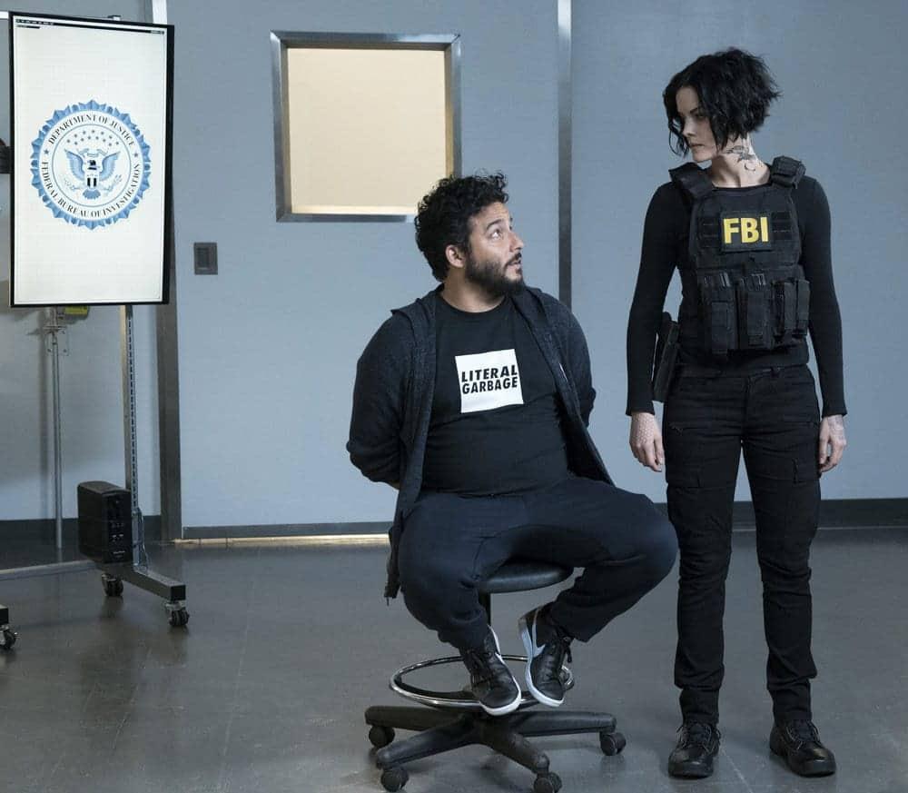 "BLINDSPOT -- ""Resolves Eleven Myths"" Episode 207 -- Pictured: (l-r) Ennis Esmer as RichDot Com, Jaimie Alexander as Jane Doe -- (Photo by: Virginia Sherwood/NBC)"