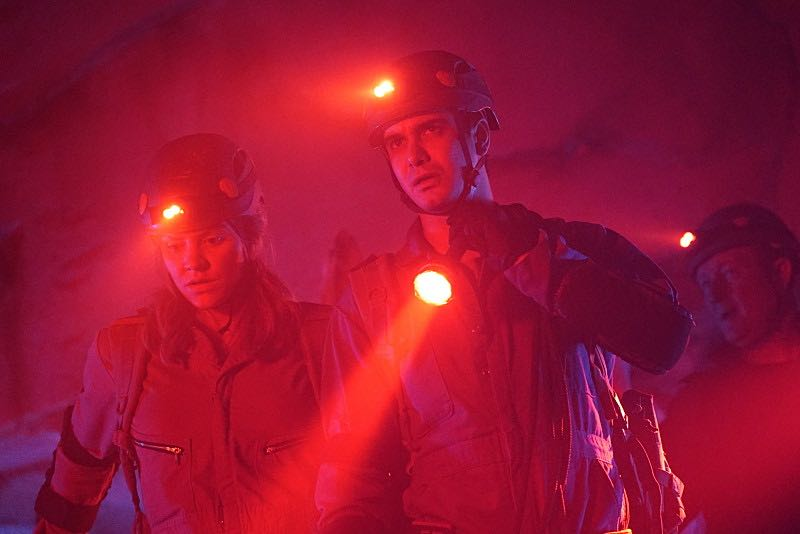 """Bat Poop Crazy"" -- Before Halloween, Team Scorpion must infiltrate a deep, vast cave system in order to prevent a bat population from destroying the North America ecosystem. Also, the team dons costumes to stage photos from Halloween's past for Walter's upcoming immigration inspection, on SCORPION, Monday, Oct. 31 (10:00-11:00 PM, ET/PT), on the CBS Television Network. Pictured: Katharine McPhee, Elyes Gabel. Photo: Cliff Lipson/CBS ©2016 CBS Broadcasting, Inc. All Rights Reserved"