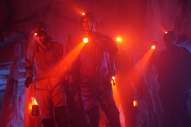 """Bat Poop Crazy"" -- Before Halloween, Team Scorpion must infiltrate a deep, vast cave system in order to prevent a bat population from destroying the North America ecosystem. Also, the team dons costumes to stage photos from Halloween's past for Walter's upcoming immigration inspection, on SCORPION, Monday, Oct. 31 (10:00-11:00 PM, ET/PT), on the CBS Television Network. Pictured: Katharine McPhee, Elyes Gabel, Ari Stidham. Photo: Cliff Lipson/CBS ©2016 CBS Broadcasting, Inc. All Rights Reserved"