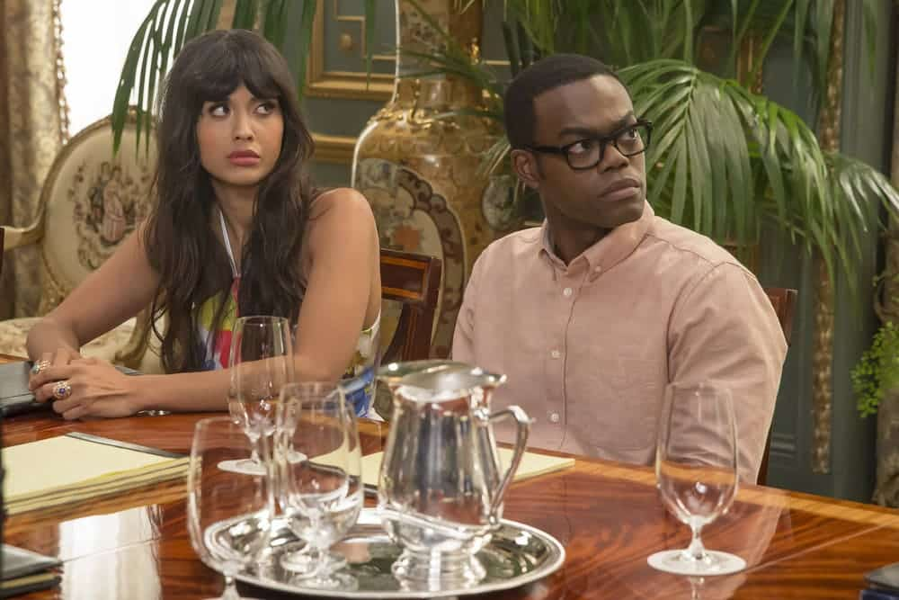 """THE GOOD PLACE -- """"Most Improved Player"""" Episode 107 -- Pictured: (l-r) Jameela Jamil as Tehani, William Jackson Harper as Chidi -- (Photo by: Ron Batzdorff/NBC)"""