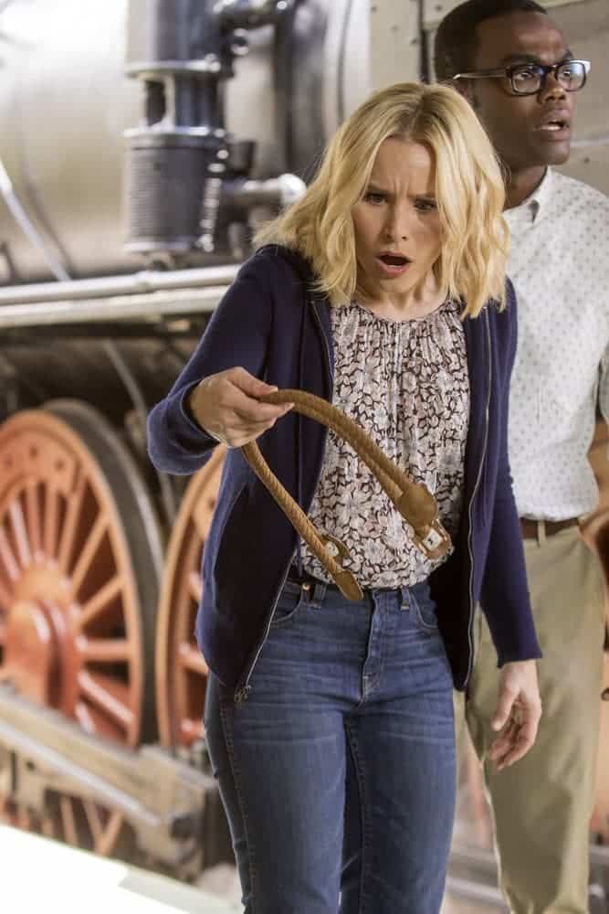 """THE GOOD PLACE -- """"Most Improved Player"""" Episode 107 -- Pictured: (l-r) Kristen Bell as Eleanor, William Jackson Harper as Chidi -- (Photo by: Ron Batzdorff/NBC)"""