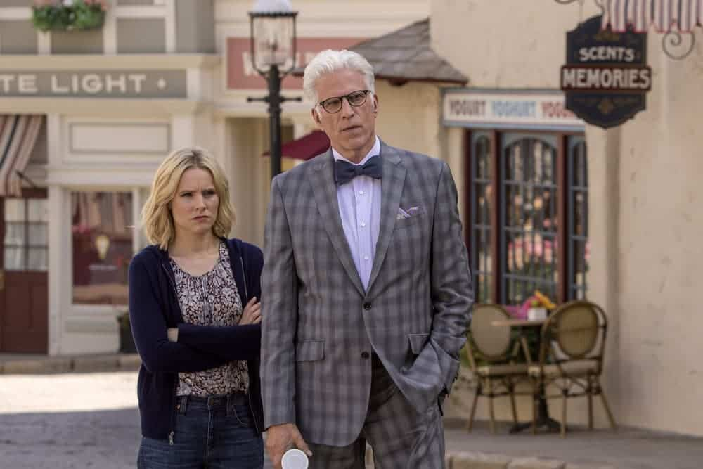 """THE GOOD PLACE -- """"Most Improved Player"""" Episode 107 -- Pictured: (l-r) Kristen Bell as Eleanor, Ted Danson as Michael -- (Photo by: Ron Batzdorff/NBC)"""