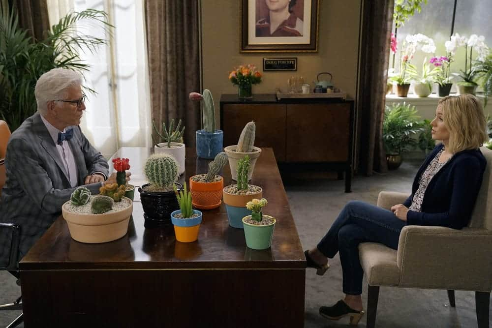 """THE GOOD PLACE -- """"Most Improved Player"""" Episode 107 -- Pictured: (l-r) Ted Danson as Michael, Kristen Bell as Eleanor -- (Photo by: Chris Haston/NBC)"""