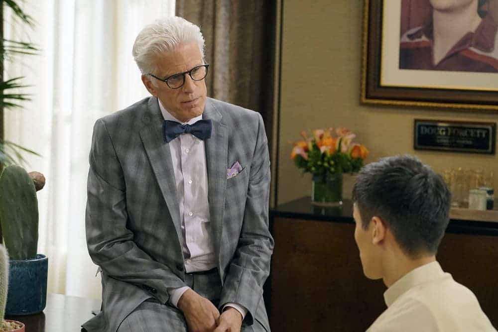 """THE GOOD PLACE -- """"Most Improved Player"""" Episode 107 -- Pictured: (l-r) Ted Danson as Michael, Manny Jacinto as Jianyu -- (Photo by: Chris Haston/NBC)"""