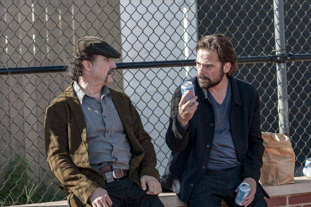 "CHICAGO P.D. -- ""Skin in the Game"" Episode 406 -- Pictured: (l-r) Elias Koteas as Alvin Olinsky, Billy Burke as Jake McCoy -- (Photo by: Matt Dinerstein/NBC)"