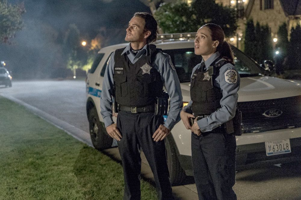 "CHICAGO P.D. -- ""Skin in the Game"" Episode 406 -- Pictured: (l-r) Samuel Hunt as Craig Gurwitch, Marina Squerciati as Kim Burgess -- (Photo by: Matt Dinerstein/NBC)"