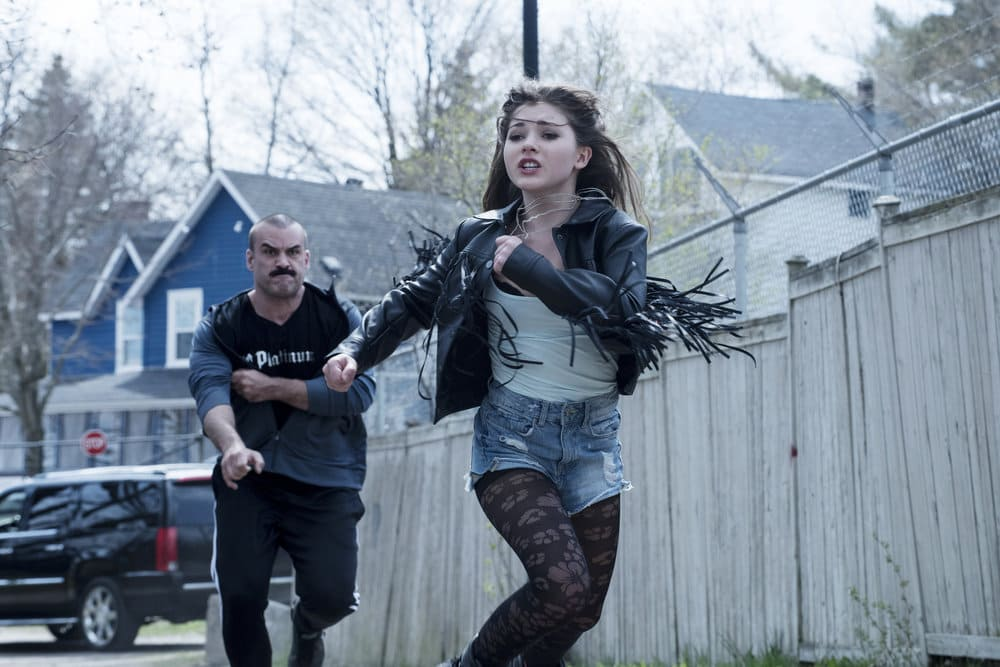 "EYEWITNESS -- ""Bless the Beast and the Children"" Episode 102 -- Pictured: (l-r) Joel Gagne%u0301 as Vic, Katie Douglas as Bella -- (Photo by: Christos Kalohoridis/USA Network)"