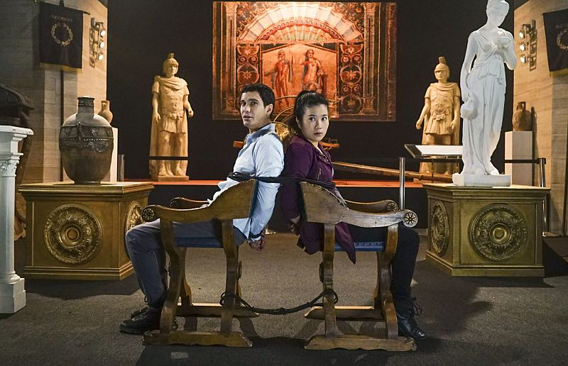 """""""Plight at the Museum"""" -- Team Scorpion's simple job at the Los Angeles Natural History Museum turns deadly when they discover thieves robbing a rare gem exhibit in order to get materials needed to enrich a nuclear bomb, on SCORPION, Monday, Oct. 24 (10:00-11:00 PM, ET/PT), on the CBS Television Network. Pictured: elyes Gabel, Jadyn Wong. Photo: Sonja Flemming/CBS ©2016 CBS Broadcasting, Inc. All Rights Reserved"""