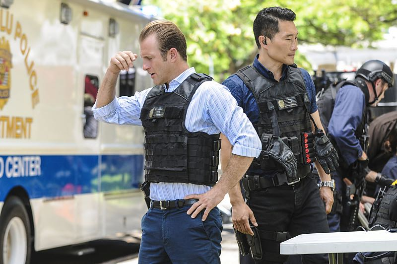 """Ke Kū 'Ana"" -- When a cache of guns is stolen from a gun range, Five-0 discovers the culprit is intent on making a dramatic and potentially deadly statement on gun violence. Also, Kono and Adam are finally reunited when he is released from prison, on HAWAII FIVE-0, Friday, Oct. 21 (9:00-10:00 PM, ET/PT), on the CBS Television Network. (""Ke Kū 'Ana"" is Hawaiian for ""The Stand"") Pictured left to right: Scott Caan as Danny ""Danno"" Williams and Daniel Dae Kim as Chin Ho Kelly. Photo: Norman Shapiro/CBS ©2016 CBS Broadcasting, Inc. All Rights Reserved"