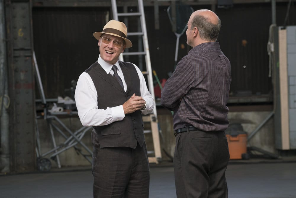 "THE BLACKLIST -- ""The Lindquist Concern #105"" Episode 405 -- Pictured: (l-r) James Spader as Raymond ""Red"" Reddington, Matt Servitto as Dr. Sebastian Reifler -- (Photo by: Barbara Nitke/NBC)"