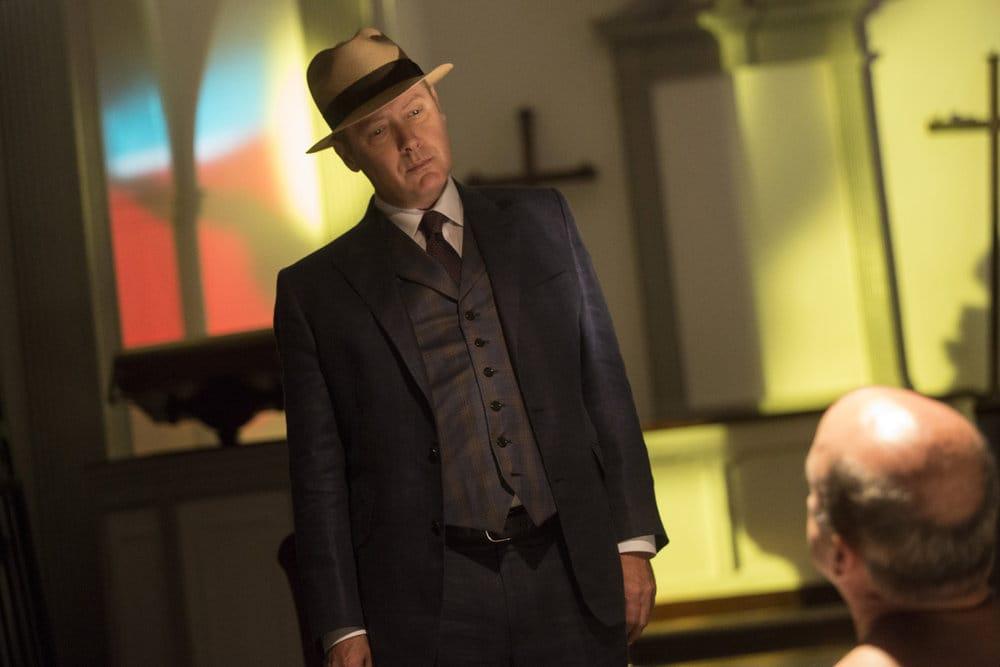 "THE BLACKLIST -- ""The Lindquist Concern #105"" Episode 405 -- Pictured: (l-r) James Spader as Raymond ""Red"" Reddington, Matt Servitto as Dr. Sebastian Reifler -- (Photo by: Eric Liebowitz/NBC)"