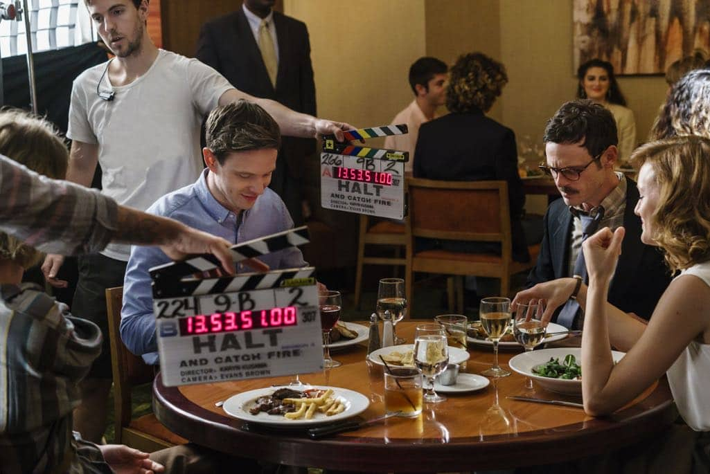 BTS, Scoot McNairy as Gordon Clark, Mackenzie Davis as Cameron Howe, Mark O'Brien as Tom Rendon - Halt and Catch Fire _ Season 3, Episode 7  - Photo Credit: Tina Rowden/AMC