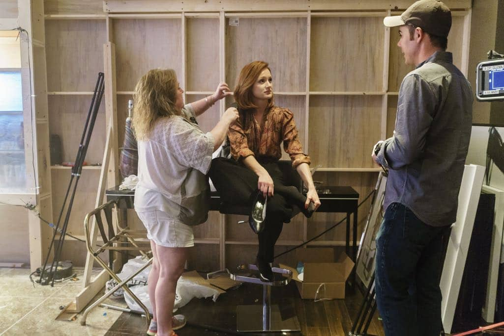 BTS, Executive Producer Chris Cantwell, Kerry Bishe as Donna Clark - Halt and Catch Fire _ Season 3, Episode 9  - Photo Credit: Tina Rowden/AMC