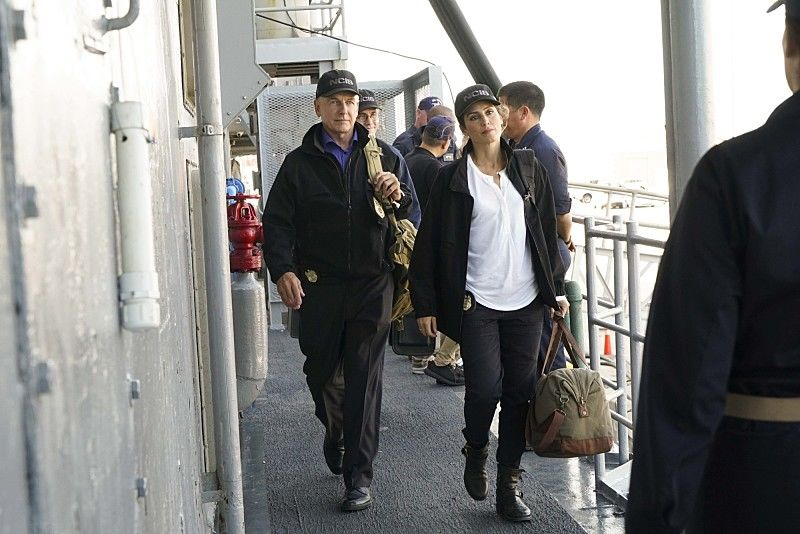"""Love Boat"" -- After the body of a navy lieutenant is discovered aboard a destroyer during a tiger cruise, when civilian guests are allowed to spend the night on the ship, Gibbs, Quinn and Palmer travel out to sea to investigate. Also, McGee contemplates the perfect proposal for Delilah Fielding (Margo Harshman), on NCIS, Tuesday, Oct. 11 (8:00-9:00 PM, ET/PT), on the CBS Television Network. Pictured: Mark Harmon, Jennifer Esposito. Photo: Bill Inoshita/CBS ©2016 CBS Broadcasting, Inc. All Rights Reserved"
