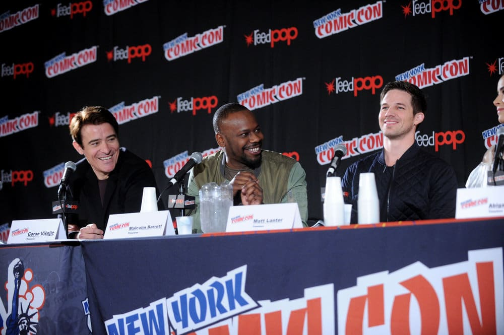 "NEW YORK COMIC CON 2016 -- ""Timeless"" Panel -- Pictured: (l-r) Goran Visnjic, Malcolm Barrett, Matt Lanter on Sunday, October 9, 2016 from the Javits Center in New York, NY -- (Photo by: Brad Barket/NBC)"
