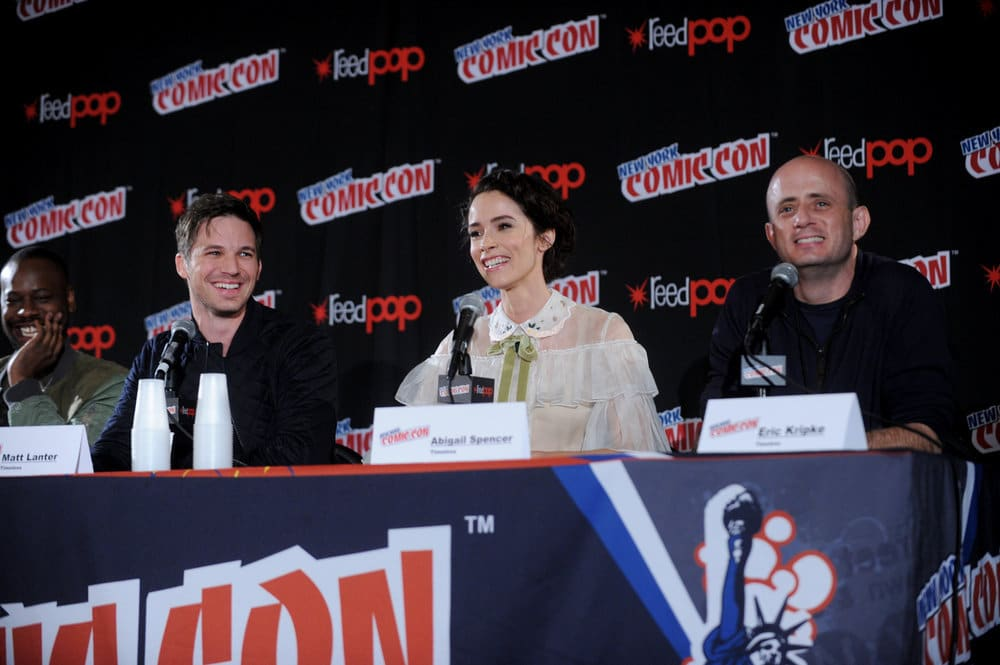 "NEW YORK COMIC CON 2016 -- ""Timeless"" Panel -- Pictured: (l-r) Malcolm Barrett, Matt Lanter, Abigail Spencer, Executive Producer Eric Kripke on Sunday, October 9, 2016 from the Javits Center in New York, NY -- (Photo by: Brad Barket/NBC)"