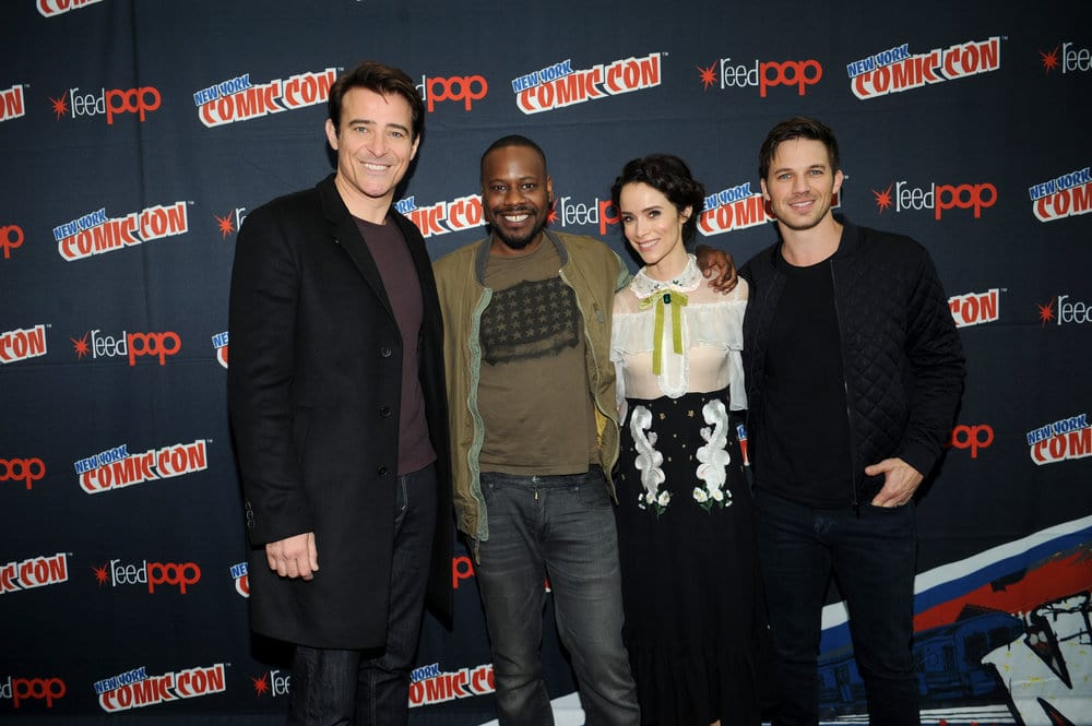 "NEW YORK COMIC CON 2016 -- ""Timeless"" Press Room -- Pictured: (l-r) Goran Visnjic, Malcolm Barrett, Abigail Spencer, Matt Lanter on Sunday, October 9, 2016 from the Javits Center in New York, NY -- (Photo by: Brad Barket/NBC)"