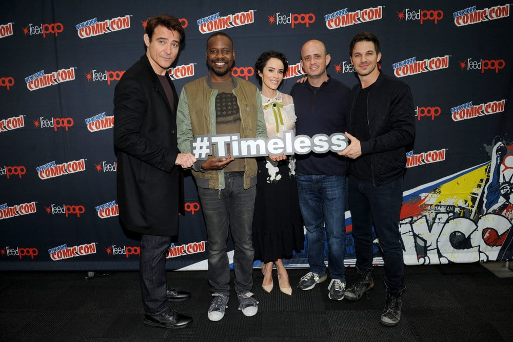 "NEW YORK COMIC CON 2016 -- ""Timeless"" Press Room -- Pictured: (l-r) Goran Visnjic, Malcolm Barrett, Abigail Spencer, Executive Producer Eric Kripke, Matt Lanter on Sunday, October 9, 2016 from the Javits Center in New York, NY -- (Photo by: Brad Barket/NBC)"