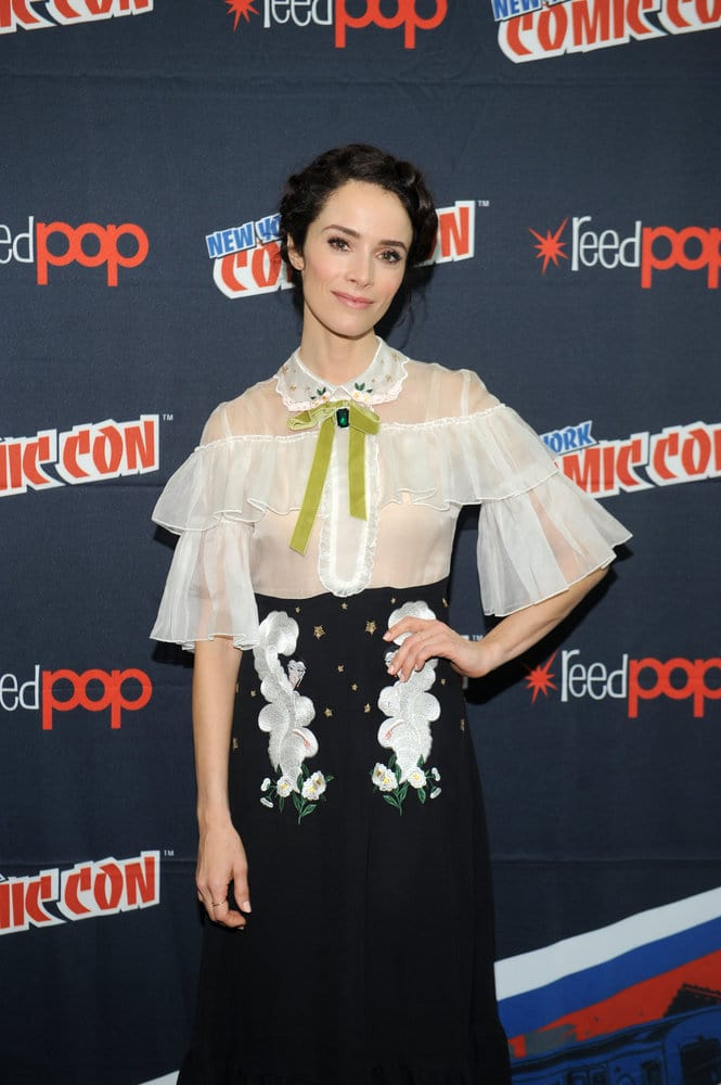 "NEW YORK COMIC CON 2016 -- ""Timeless"" Press Room -- Pictured: Abigail Spencer on Sunday, October 9, 2016 from the Javits Center in New York, NY -- (Photo by: Brad Barket/NBC)"