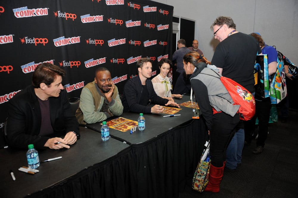 "NEW YORK COMIC CON 2016 -- ""Timeless"" Autographs -- Pictured: (l-r) Goran Visnjic, Malcolm Barrett, Matt Lanter, Abigail Spencer on Sunday, October 9, 2016 from the Javits Center in New York, NY -- (Photo by: Brad Barket/NBC)"