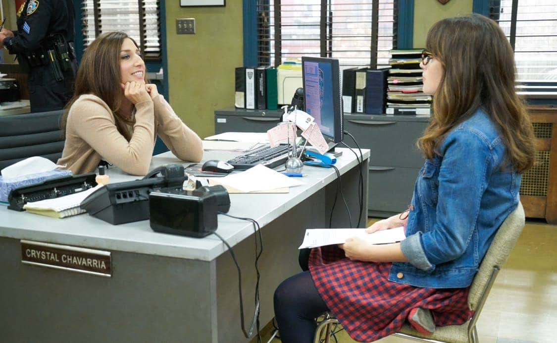 """NEW GIRL: L-R; Guest star Chelsea Peretti and Zooey Deschanel in the special """"Homecoming"""" NEW GIRL/BROOKLYN NINE-NINE crossover episode of NEW GIRL airing Tuesday, Oct. 11 (8:31-9:01 PM ET/PT) on FOX. ©2015 Fox Broadcasting Co. Cr: Adam Taylor/FOX"""