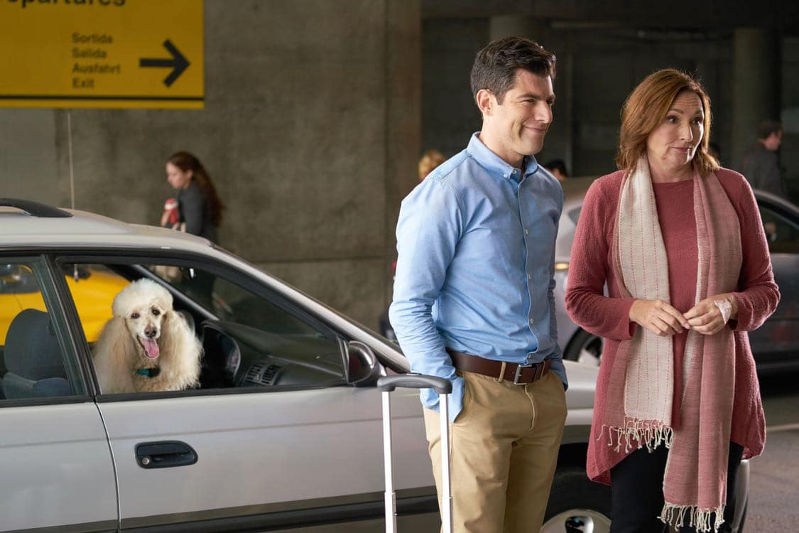"""NEW GIRL: L-R: Max Greenfield and guest star Nora Dunn in the special """"Homecoming"""" NEW GIRL/BROOKLYN NINE-NINE crossover episode of NEW GIRL airing Tuesday, Oct. 11 (8:31-9:01 PM ET/PT) on FOX. ©2015 Fox Broadcasting Co. Cr: Adam Taylor/FOX"""