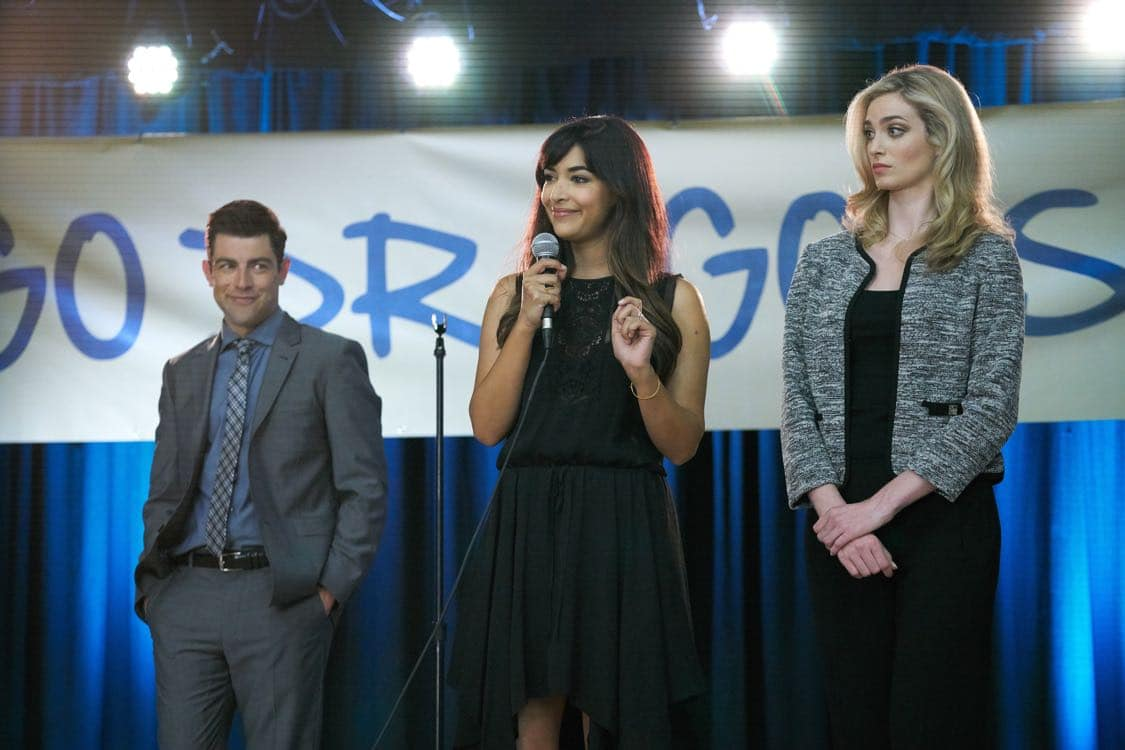 """NEW GIRL: L-R: Max Greenfield, Hannah Simone and guest star Allegra Edwards in the special """"Homecoming"""" NEW GIRL/BROOKLYN NINE-NINE crossover episode of NEW GIRL airing Tuesday, Oct. 11 (8:31-9:01 PM ET/PT) on FOX. ©2015 Fox Broadcasting Co. Cr: Adam Taylor/FOX"""
