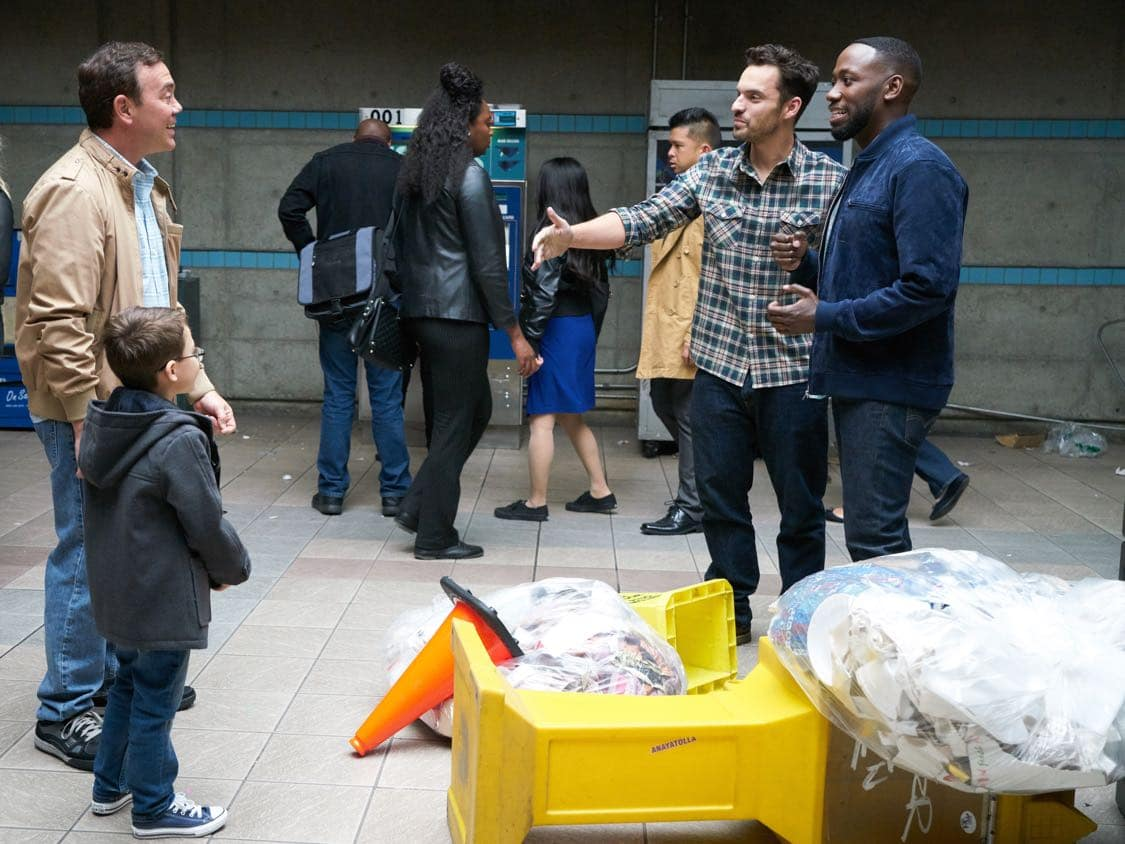 """NEW GIRL: L-R: Guest star Joe Lo Truglio, Jake Johnson and Lamorne Morris in the special """"Homecoming"""" NEW GIRL/BROOKLYN NINE-NINE crossover episode of NEW GIRL airing Tuesday, Oct. 11 (8:31-9:01 PM ET/PT) on FOX. ©2015 Fox Broadcasting Co. Cr: Adam Taylor/FOX"""