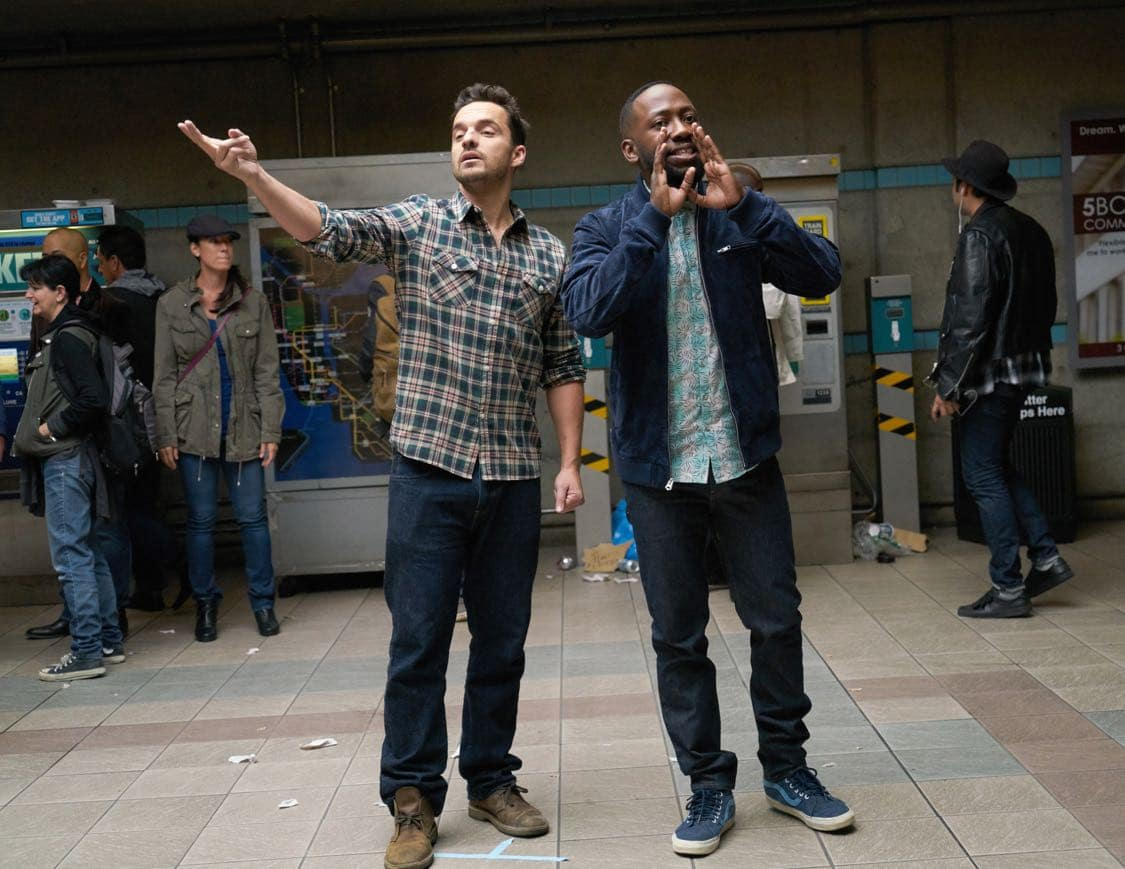 """NEW GIRL: L-R: Jake Johnson and Lamorne Morris in the special """"Homecoming"""" NEW GIRL/BROOKLYN NINE-NINE crossover episode of NEW GIRL airing Tuesday, Oct. 11 (8:31-9:01 PM ET/PT) on FOX. ©2015 Fox Broadcasting Co. Cr: Adam Taylor/FOX"""