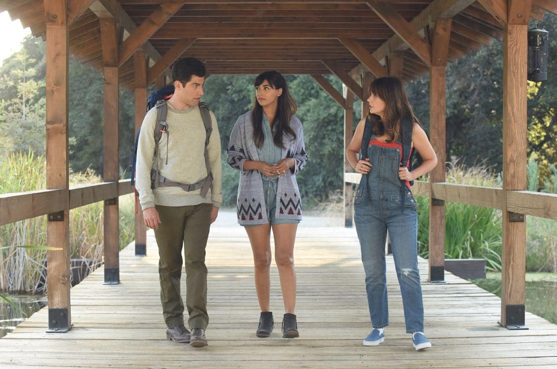"NEW GIRL: L-R: Max Greenfield, Hannah Simone and Zooey Deschanel in the "" Africa or Retractable S'mores Pole"" episode of NEW GIRL airing Tuesday, Oct. 4 (8:30-9:00 PM ET/PT) on FOX. ©2016 Fox Broadcasting Co. Cr: Ray Mickshaw/FOX"