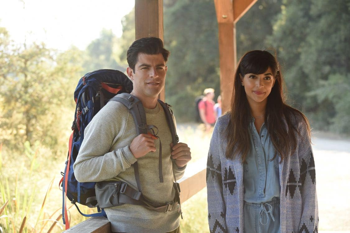 "NEW GIRL: L-R: Max Greenfield and Hannah Simone in the "" Africa or Retractable S'mores Pole"" episode of NEW GIRL airing Tuesday, Oct. 4 (8:30-9:00 PM ET/PT) on FOX. ©2016 Fox Broadcasting Co. Cr: Ray Mickshaw/FOX"