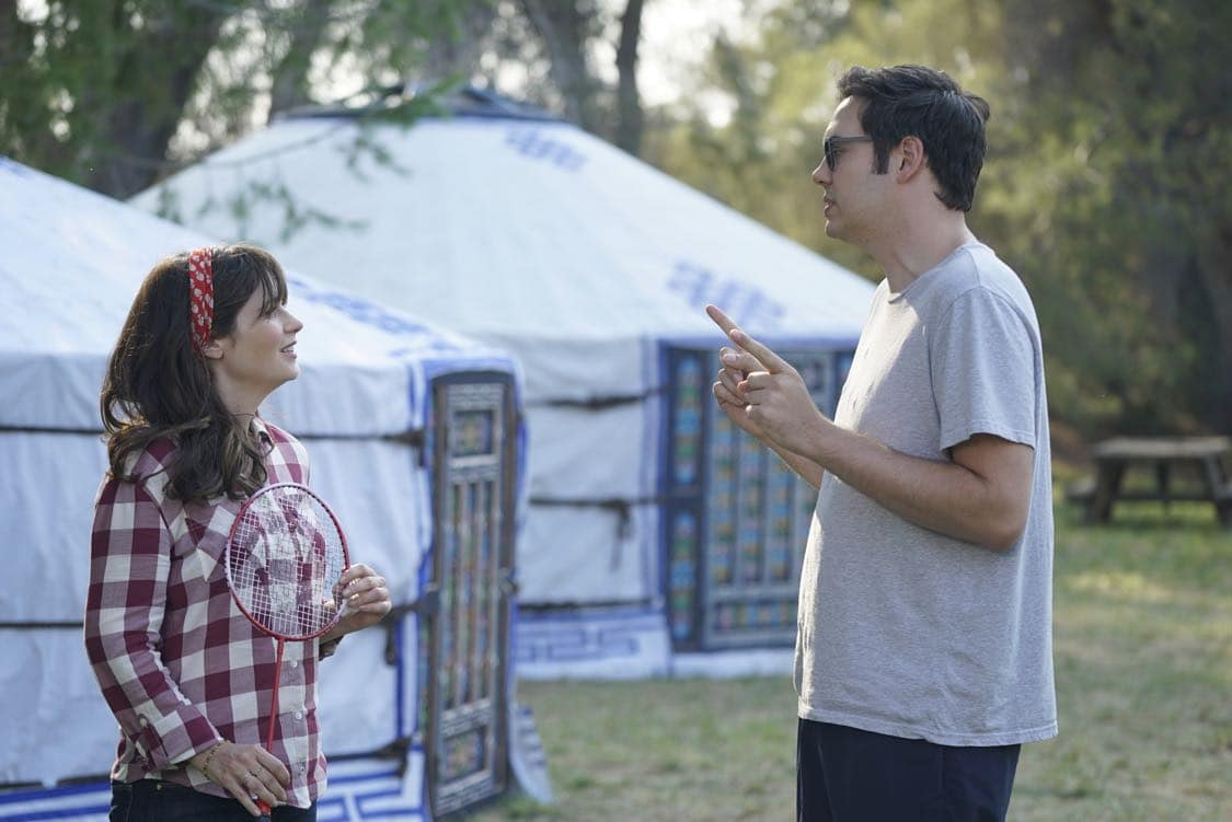 "NEW GIRL: L-R: Zooey Deschanel and guest star Nelson Franklin in the "" Africa or Retractable S'mores Pole"" episode of NEW GIRL airing Tuesday, Oct. 4 (8:30-9:00 PM ET/PT) on FOX. ©2016 Fox Broadcasting Co. Cr: Ray Mickshaw/FOX"