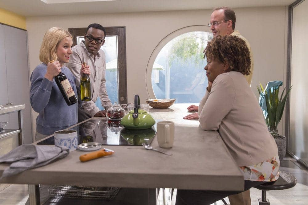 """THE GOOD PLACE -- """"Category 55 Emergency Doomsday Crisis"""" Episode 109 -- Pictured: (l-r) Kristen Bell as Eleanor, William Jackson Harper as Chidi, John Hartmann as Bart, Monnae Michaell as Nina -- (Photo by: Ron Batzdorff/NBC)"""