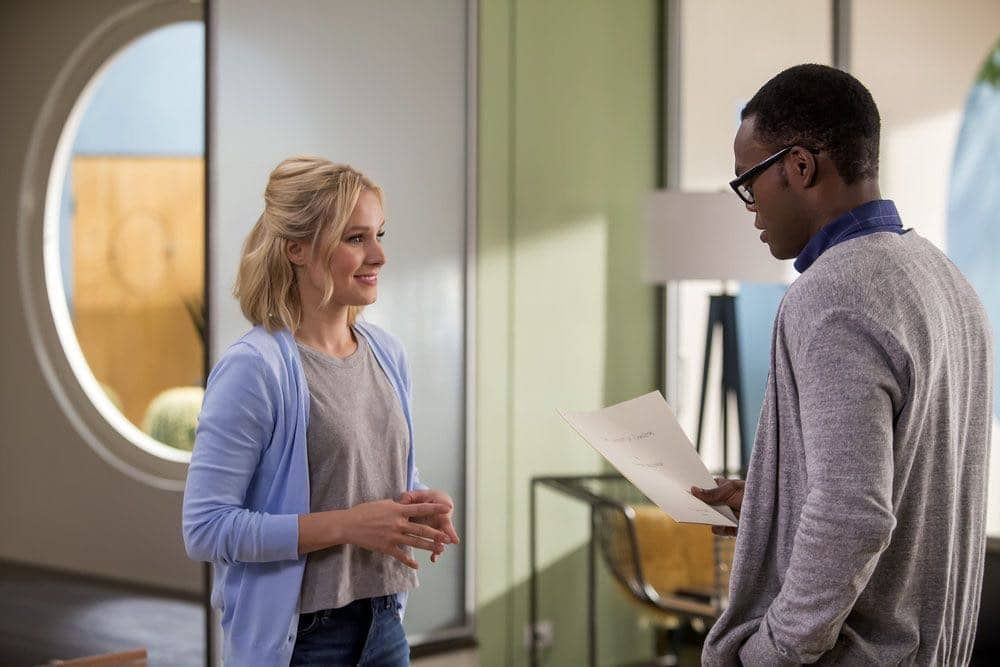 """THE GOOD PLACE -- """"Category 55 Emergency Doomsday Crisis"""" Episode 109 -- Pictured: (l-r) Kristen Bell as Eleanor, William Jackson Harper as Chidi -- (Photo by: Ron Batzdorff/NBC)"""
