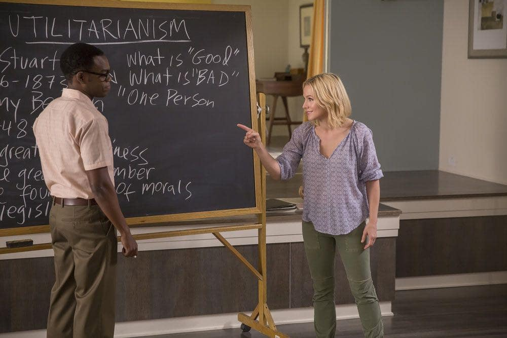 """THE GOOD PLACE -- """"Category 55 Emergency Doomsday Crisis"""" Episode 109 -- Pictured: (l-r) William Jackson Harper as Chidi, Kristen Bell as Eleanor -- (Photo by: Ron Batzdorff/NBC)"""