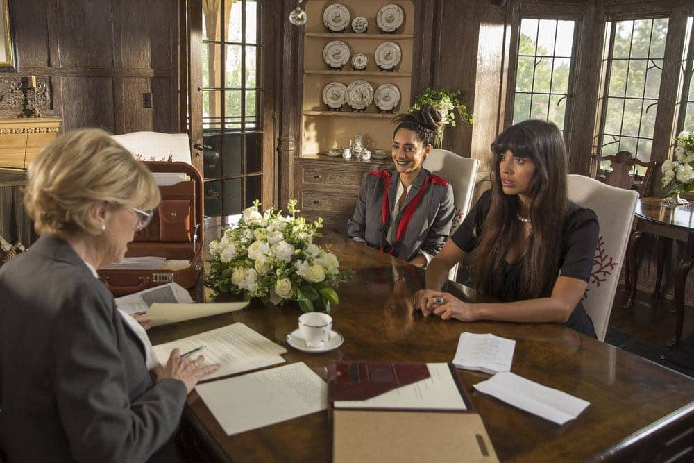 """THE GOOD PLACE -- """"Category 55 Emergency Doomsday Crisis"""" Episode 109 -- Pictured: (l-r) Rebecca Hazlewood as Kamilah, Jameela Jamil as Tahani Al-Jamil -- (Photo by: Ron Batzdorff/NBC)"""